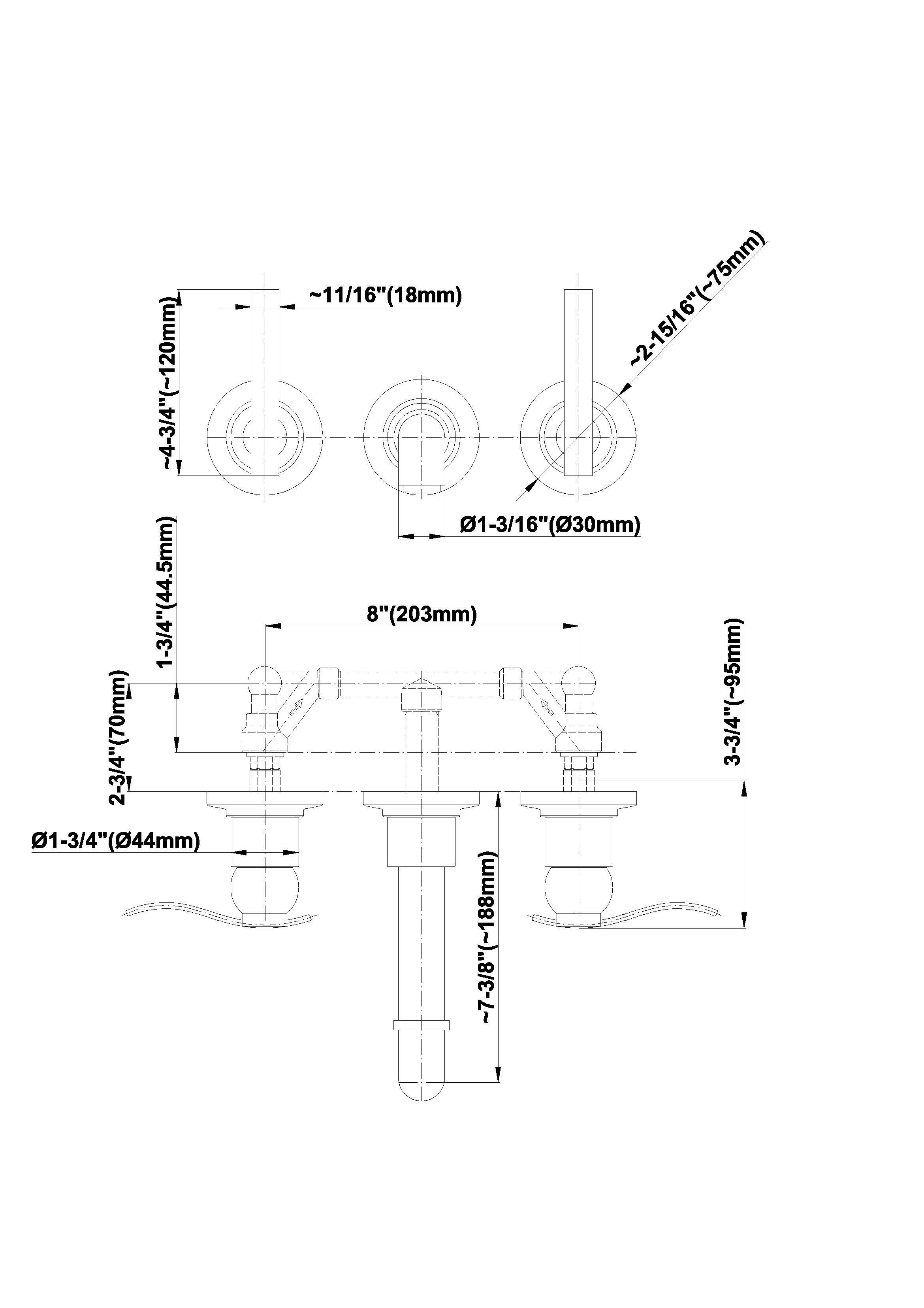 Baterie de lavoar in perete pipa 18,5cm Graff Bali 2144200 Fisa tehnica