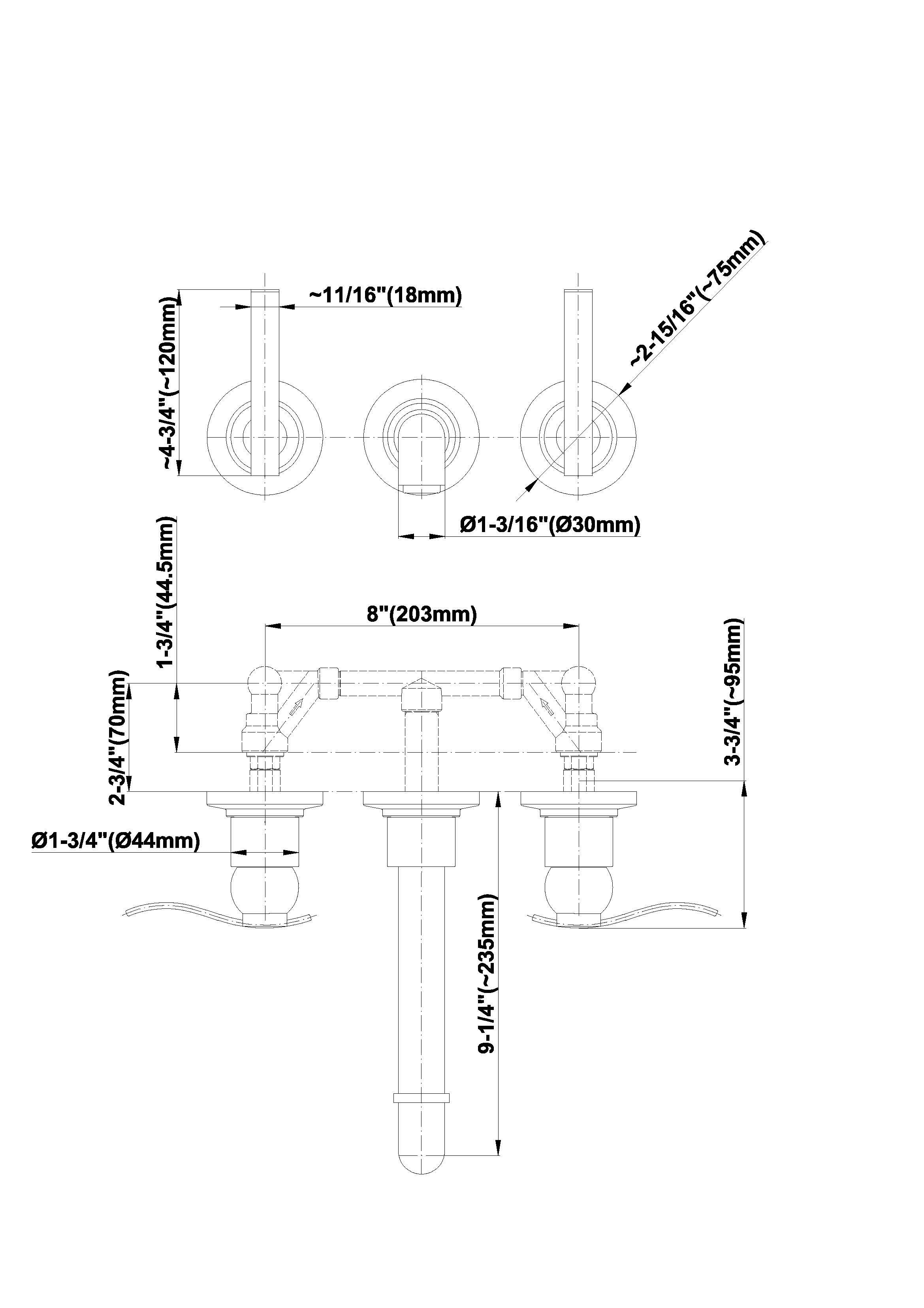 Baterie lavoar in perete pipa de 23,5 cm Graff Bali 2144300 Fisa tehnica