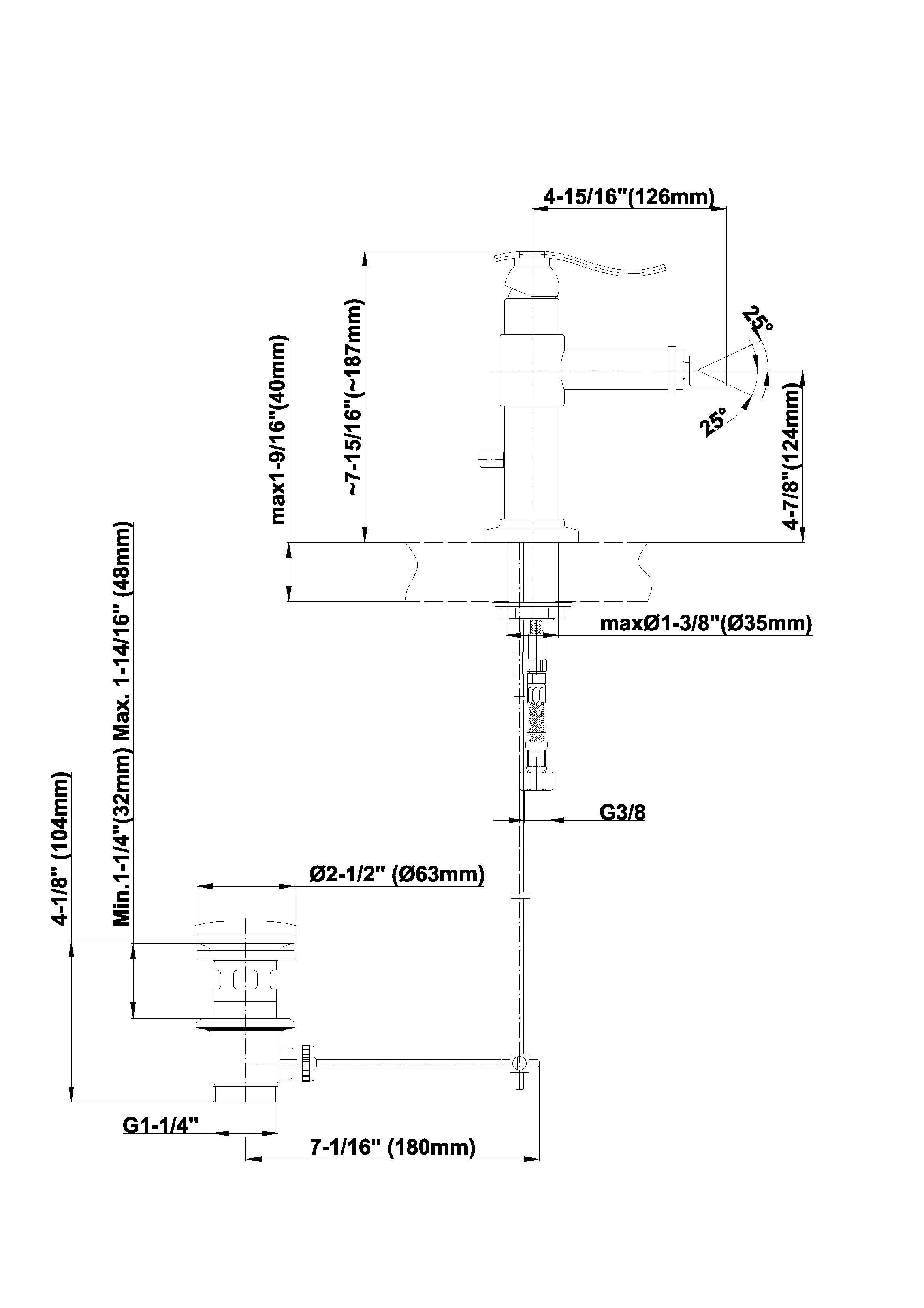 Baterie monocomanda bideu mini Graff Bali 2368600 Fisa tehnica