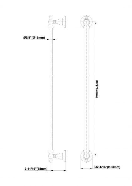 Suport prosop bara 76,2cm Graff Bali 2065657 Fisa tehnica