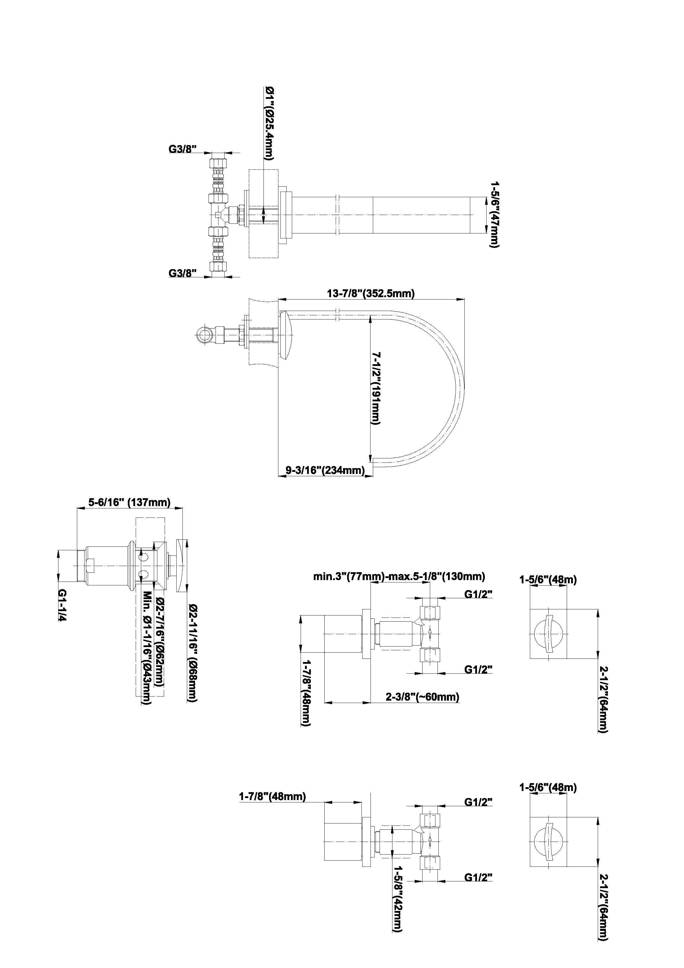 Baterie de lavoar cu valve montate in perete Graff Sade 2332900 Fisa tehnica