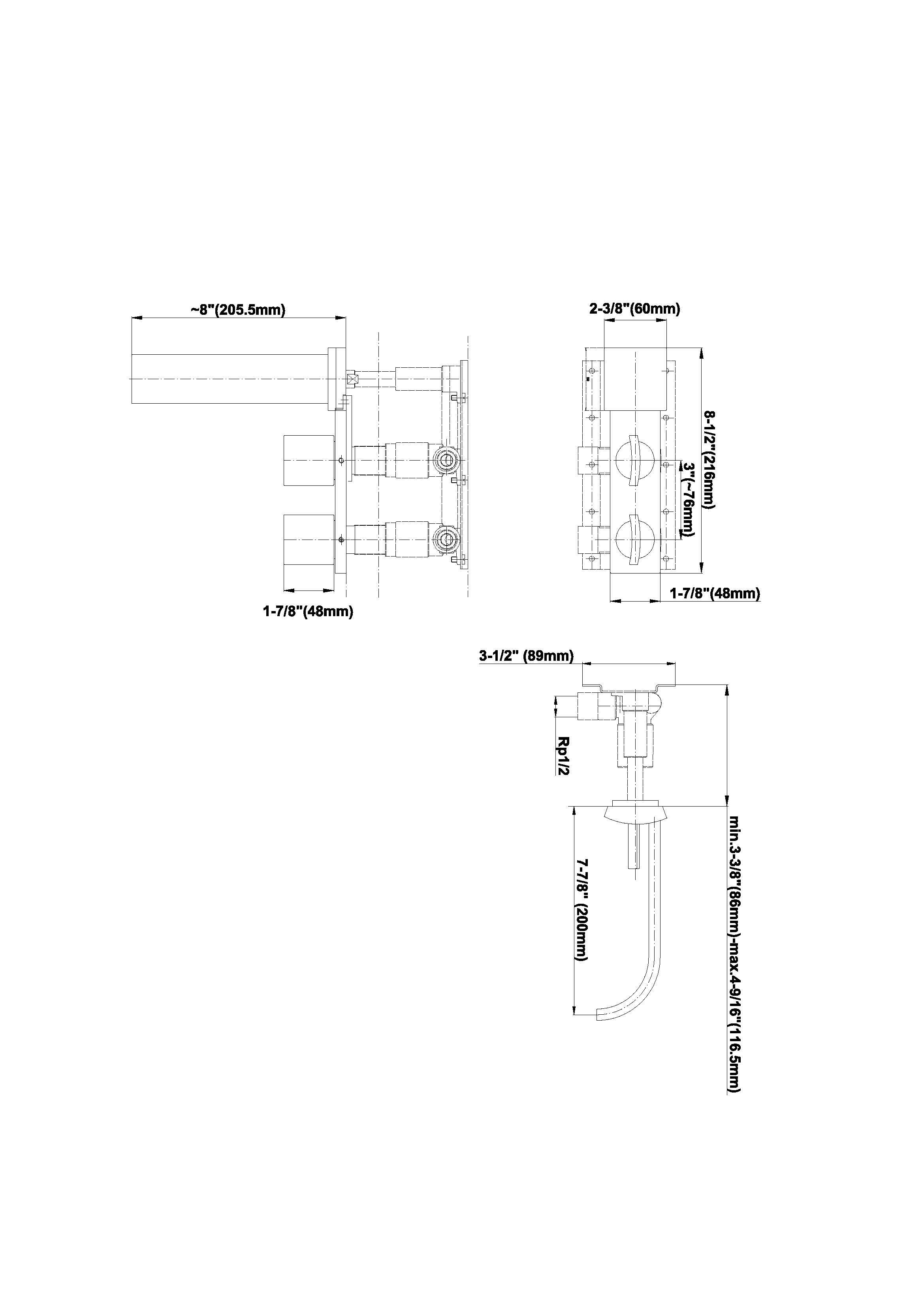 Baterie de lavoar montaj perete Graff Sade 2332080 Fisa tehnica