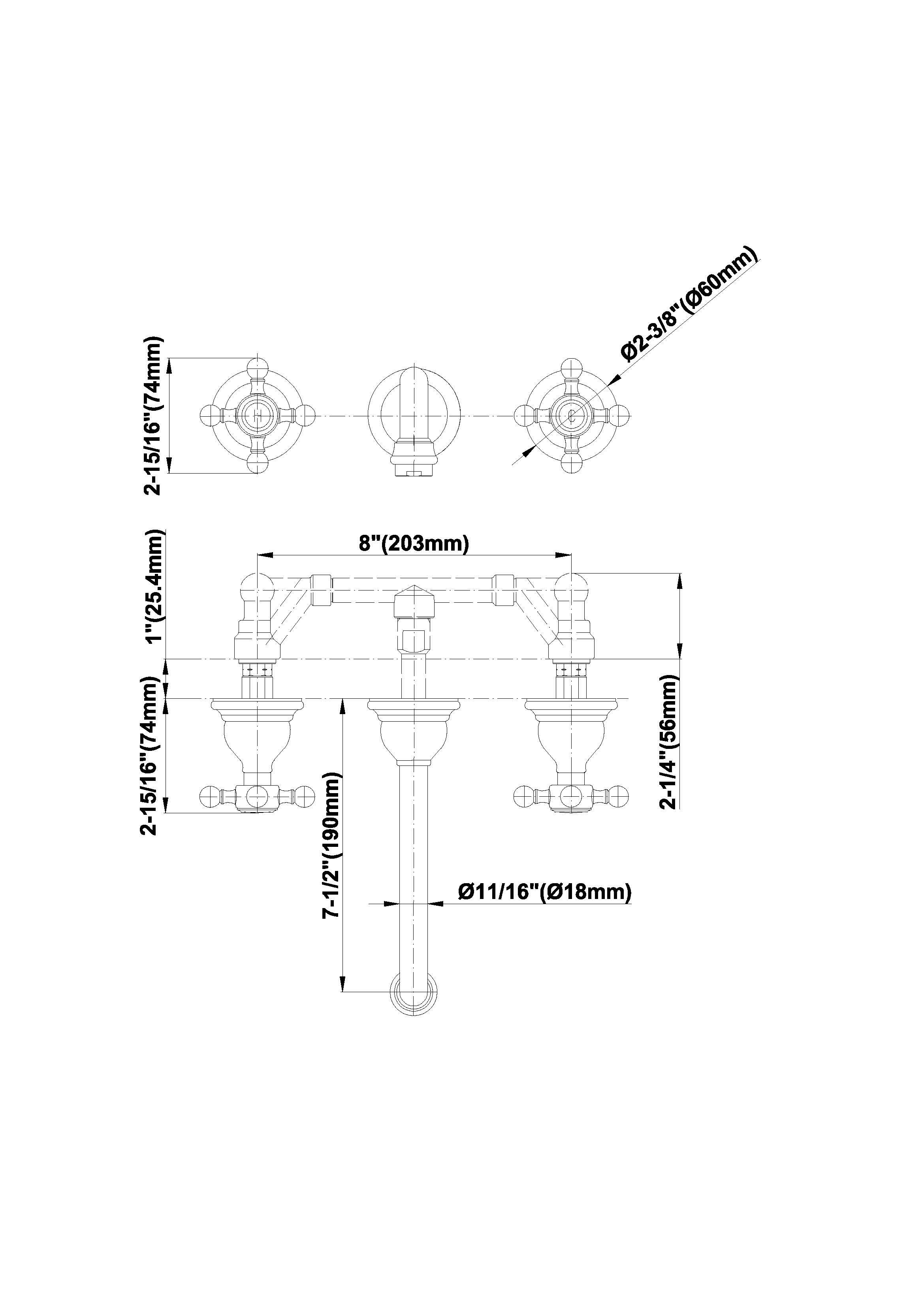 Baterie lavoar robinet 19cm montaj perete parti expuse Graff Canterbury 2366400 Fisa tehnica