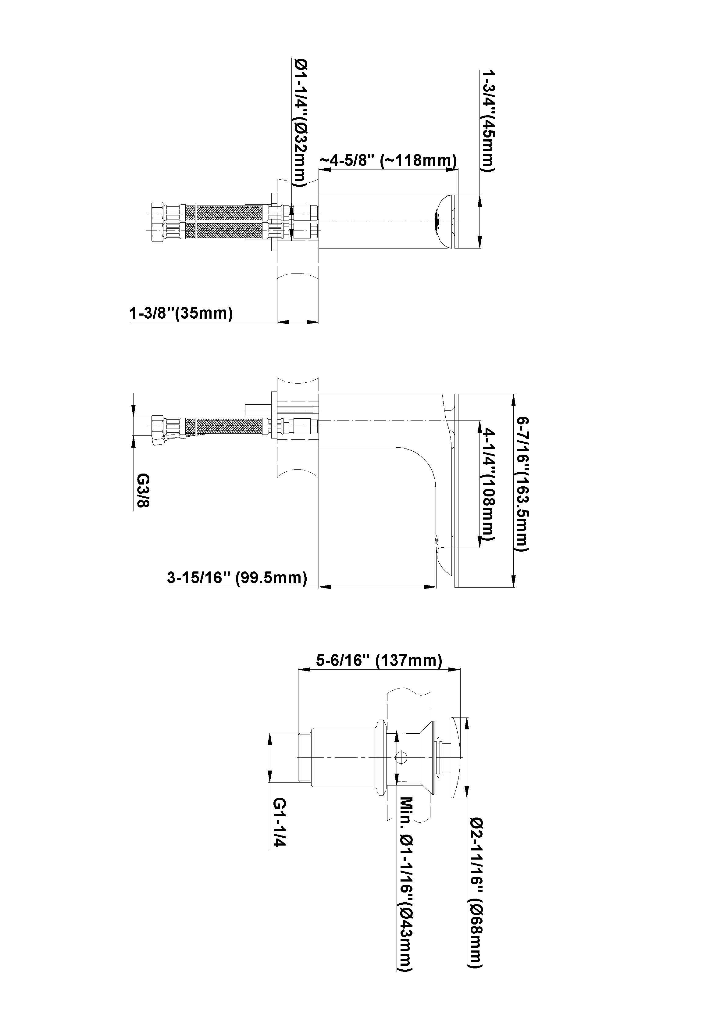 Baterie de lavoar 10,8cm Graff Sento 239800 Fisa tehnica